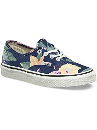Vans Authentic Youth Size 3.5 / Womens Size 5 (Vintage Floral) Navy Blue Marshmallow Skateboarding Shoes