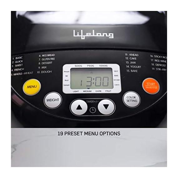 Lifelong Atta and Bread Maker 550 Watt (19 Pre-Set Menu with Adjustable Crust Control) 2