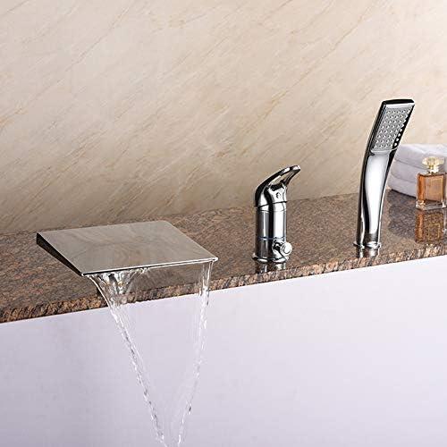 3ピースの滝浴槽の蛇口、ハンドヘルドシャワー、温水と冷水の混合水栓、シングルハンドル、真ちゅう製、3穴の浴槽の蛇口、クロームメッキの表面処理,Chrome badewannenarmatur