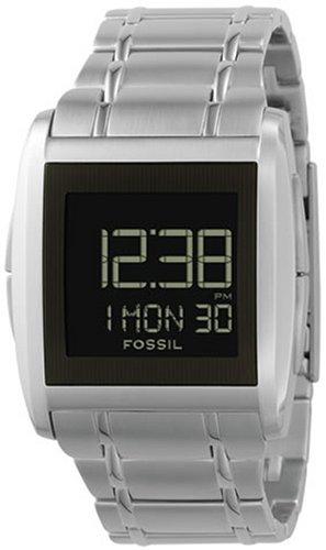 Fossil FS4155 - Reloj digital de cuarzo para hombre con correa de acero inoxidable, color plateado: Amazon.es: Relojes