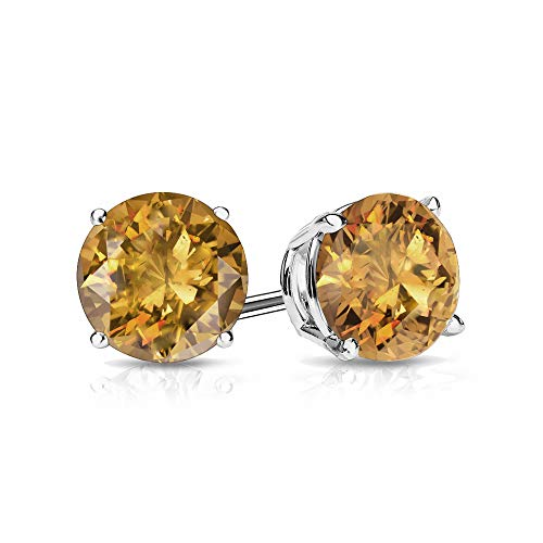 9mm Citrine Stud Earrings in 14k White Gold (4 CT.TW.)