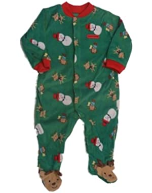 Carters Infant Holiday Sleeper Plush Green Christmas Sleep & Play Snowman Santa