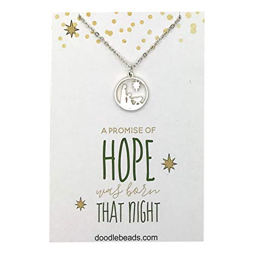 Doodle Beads Nativity Charm Necklace Silver, Manger Scene, Baby Jesus, Nativity Pendant with Spiritual Message Card Quote, Religious Christmas Jewelry Gift
