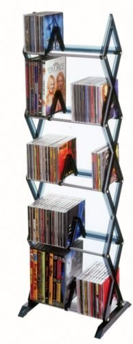 Price comparison product image NEW Atlantic Mitsu 130 CD/90 DVD/BluRay/Games 5-Tier Media Rack Smoke