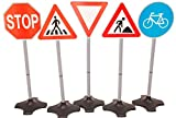 stop sign for kids - Road signs - set of 5: stop, yield, crosswalk, construction, bicycle, over 2 feet tall