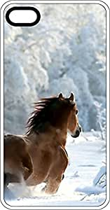 Horse Running In Snowy Country Side White Plastic Case for Apple iPhone 5 or iPhone 5s