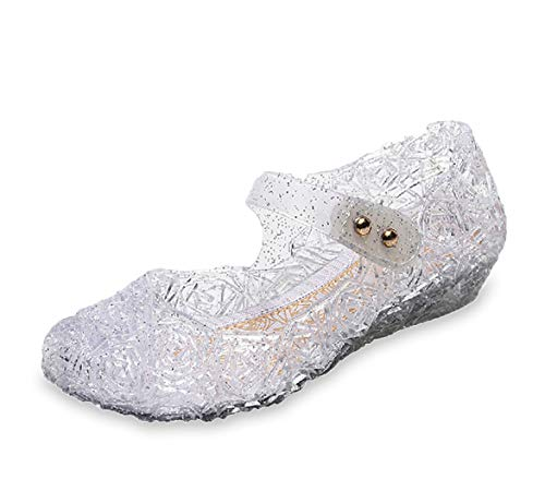 Omgard Dress Shoes for Girls, Toddler Princess Jelly Sandals Ankle Strap, White Cute Little Kids Mary Jane Size 7, Childrens LED Light Up Clear Glitter Sandal with Low Heel for Dance Party -