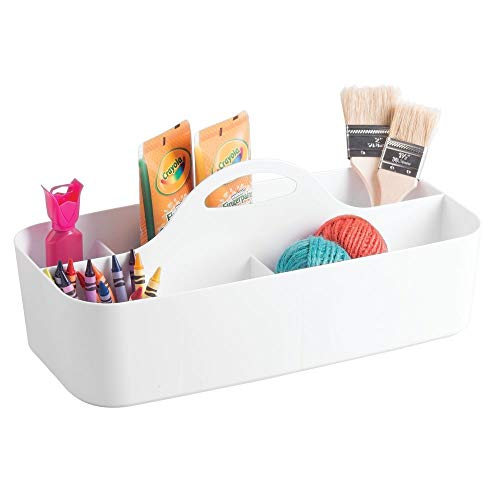 (mDesign Plastic Portable Craft Storage Organizer Caddy Tote, Divided Basket Bin with Handle for Craft, Sewing, Art Supplies - Holds Paint Brushes, Colored Pencils, Stickers, Glue, X-Large - White )