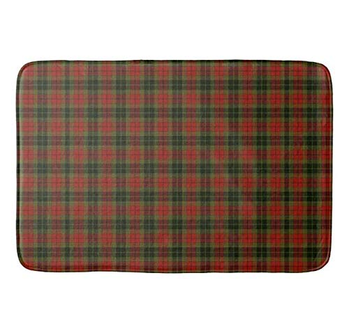 Yesstd Absorbent Super Cozy Bath Mat Doormat Welcome Mats Indoor/Outdoor Bath Floor Rug Decor Art Print with Non Slip Backing Plaid in Rich Red and Green (24