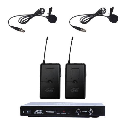 Audio2000s 6023vm VHF Dual Channel Ultra-slim Wireless Microphone w/ 2 Lapel (Lavalier) Mic