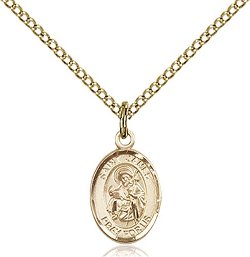 James Gold Necklace (14K Gold Filled Saint James the Greater Petite Charm Medal, 1/2 Inch)