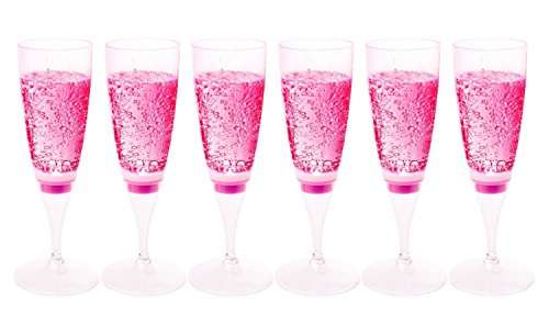 FAMI 6 Glasses LED Wine Champagne Light Up Glasses Champagne Flute Cups Liquid Activated (Pink LED (Pink Wine Glass)