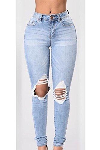 La Mujer Es Elastico Longitud Ripped Agujero Distressed Cortar Destruido Jeans Blue