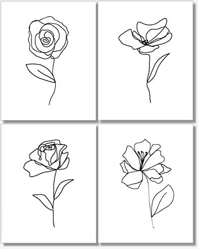 Amazon Com Black And White Wall Art Flower Line Drawings Botanical Prints Abstract Pictures Set Of 4 11x14 Unframed Handmade