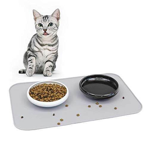 MSBC Cat Feeding and Watering Set Including 2pcs Ceramic Cat Food/Water Bowls(White+Black) + 1pcs Silicone Feeding Mat…