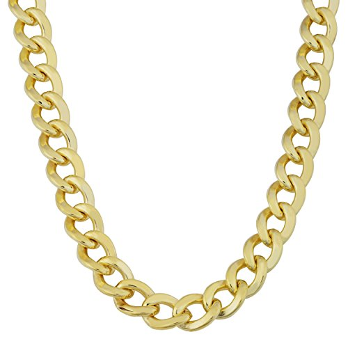 Mens 14k Yellow Gold Filled 9mm High Polish Miami Cuban Curb Link Chain Necklace (Link Yellow Gold 14k Mens)