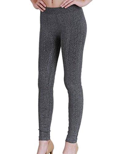 Nikibiki Thick Braid Knit Leggings NB6558 (Charcoal) Fashion Knit Legging