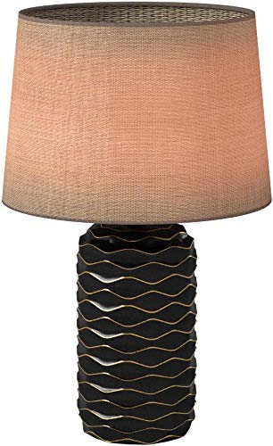 Amazon Brand – Rivet Mid Century Modern Ceramic Gold Wave Living Room Table Lamp With LED Light Bulb and Shade - 23.25 Inches, Black