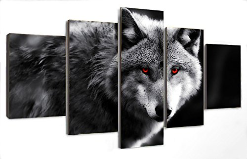 Berdecia Brave Gray Wolf With Red Eyes Canvas Wall Art Grey Lone Wolf Painting On Canvas 5 Pieces Modern Abstract Picture Landscape Wolf Poster Room