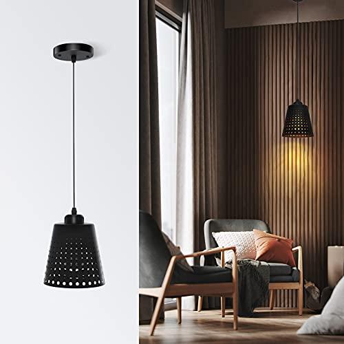 Imoli Industrial Plug in Pendant Kitchen Light Fixtures Farmhouse Modern Black Chandelier Vintage Ceiling Light Fixture Adjustable Hanging Light for Kitchen Island Dining Room Bedroom,E26 Base,1-Pack