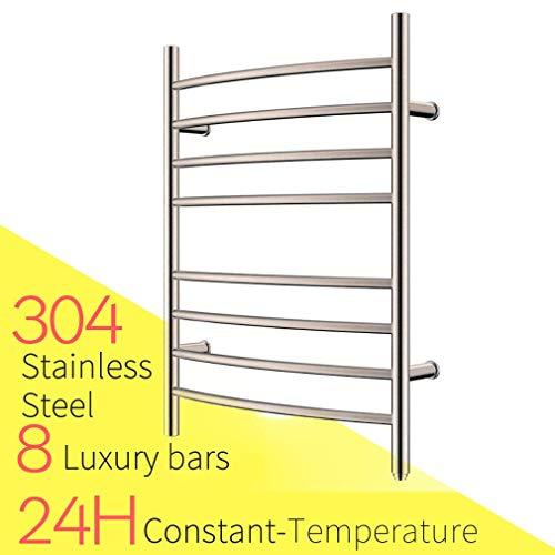 HEATGENE Towel Warmer 8 Bar Plug-in Curved Bath Towel Heater - Towel Heated Curved Rack