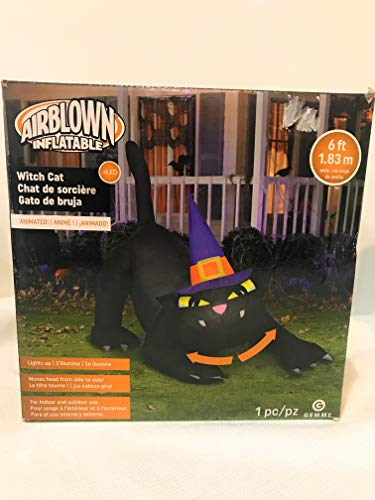 At Home 7 Foot Inflatable Halloween Cat Wearing Witch Hat Animated - Head Moves -