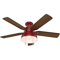 "Hunter 59312 Mill Valley 52"" OTH867 Ceiling Fan with Light, Large, Barn Red"