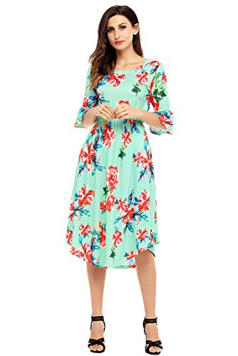Women's Casual Loose Pocket Dress Floral Summer Dress 3/4 Bell Sleeve Midi Swing Dress Green