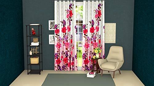 LUSHOMES Digitally Printed Flowery Polyester Blackout Curtai
