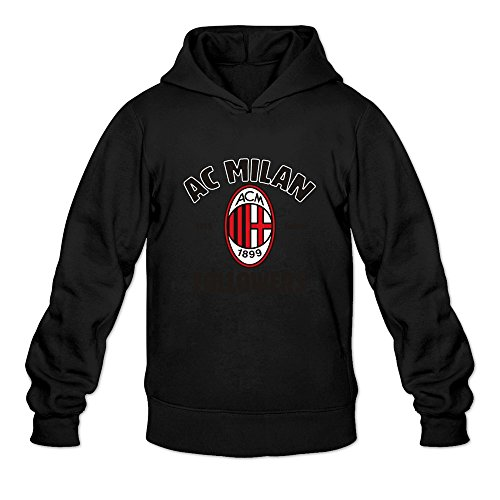 [YOGUYA Men's 2016 Serie A Milan Logo Hoodie Shirt Black L] (Customes Halloween Maternity)
