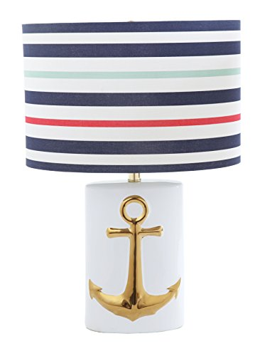(Creative Co-op DA9144 Ceramic Table with Striped Linen Shade, White with Gold Anchor Lamp,)