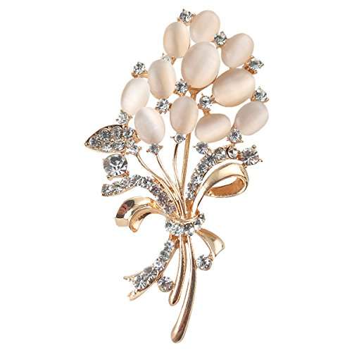 - Merdia Floral Brooch Wedding Bouquets with Beautiful Created Cat's Eye for Elegant Women -Light Beige