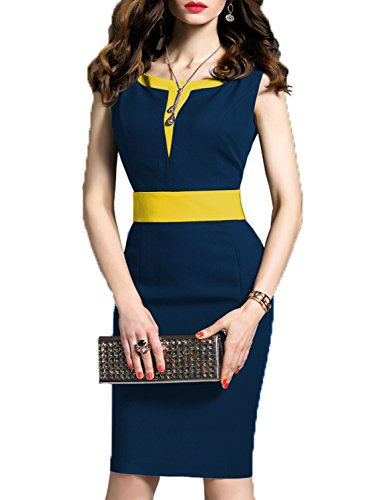 WOOSEA Women's 2/3 Sleeve Colorblock Slim Bodycon Business Pencil Dress (Large, Navy Blue+Yellow)