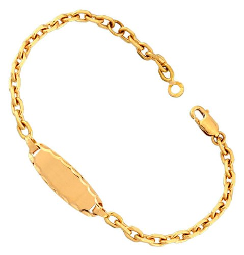 Orleo - REF5137BB : Bracelet identité Enfant Or 18K jaune - Maille Forçat - Fabriqué en France