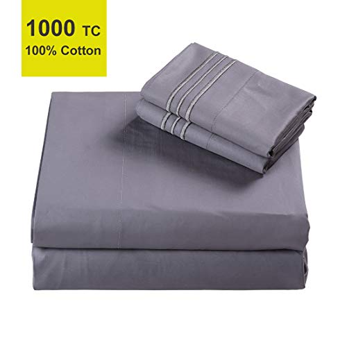 High 1000 TC Luxury Pure 100% Egyptian Cotton Bed Sheets Set Queen Size 4 Pieces Sheet & Pillowcase Sets Sateen Weave 12 Inch Deep Pocket Hotel Fitted Sheets Wrinkle Free Fade Resistant (Queen, Grey)