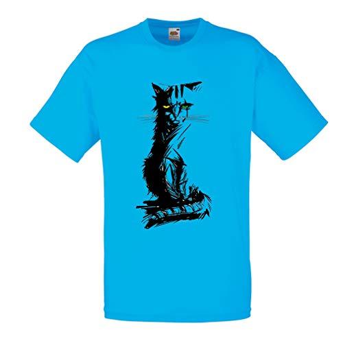 Cadeau Lepni Multicolore Yeux Hommes me Bleu Différents Colorés Mignon T shirt Chat 1Ozr1H4