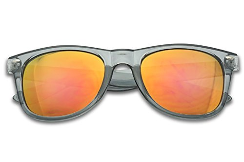 - SunglassUP Colorful Classic 80's Vintage Colored Pantone & Mirrored Lens Sunglasses (Transparent Grey, Violet Revo)