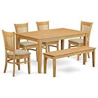 East West Furniture CAVA6-OAK-C 6 Piece Kitchen Table and 4 Chairs Combined with A Wooden Bench Set