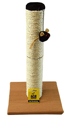 Deluxe Cat Scratching Post Pole with Accessories, Sisal Teaser and Exerciser for Cats or Kitty, By Downtown Pet Supply