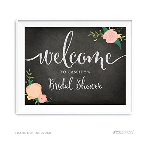 Andaz Press Personalized Wedding Party Signs, Chalkboard Pink Coral Floral Roses Print, 8.5×11-inch Wall Art, Poster, Gift, Welcome to Madison's Bridal Shower Sign, 1-Pack, Custom Made Any Name