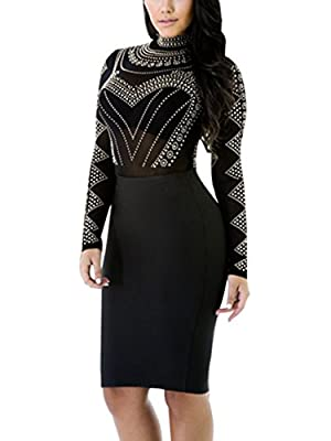 Maelove Womens Sexy High Neck Long Sleeve Bandage Bodycon See Through Clubwear Party Dress