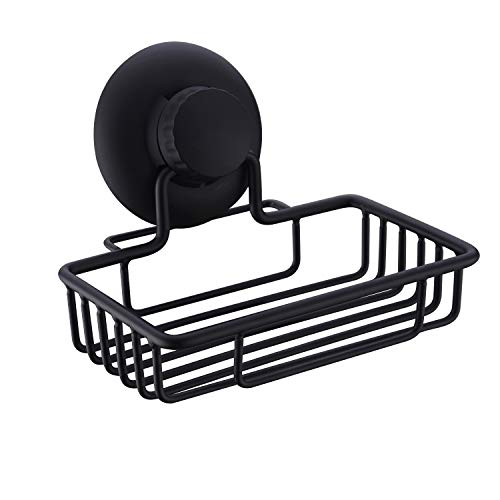 Suction Soap Dish, Nicmondo Non Drilling Soap Holder SUS304 Stainless Steel Powerful Vacuum Suction Cup Sponge Shelf Shower Caddy Storage for Bathroom Kitchen, Matt Black ()