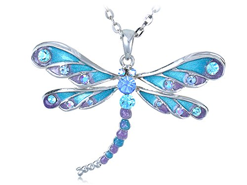 Alilang Glitter Rhinestone Dragonfly Necklace product image