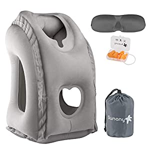 Sunany Inflatable Neck Pillow Used for Airplanes/Cars/Buses/Trains/Office Napping with Free Eye Mask/Earplugs (Gray), Small