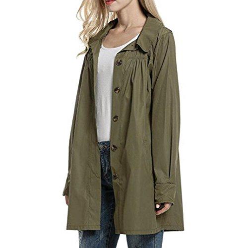 Escudo, abrigo,Internet Las señoras de manga larga impermeables impermeables al aire libre con capucha impermeable chaqueta abrigo ejercito verde