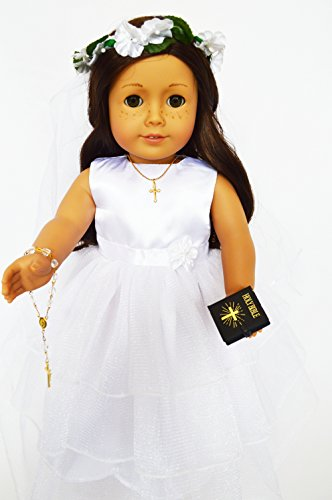 (My Brittany's 7 Piece Satin Communion Gown for American Girl Dolls Complete with Rosary-Cross-Shoes-Bible-Veil- 18 Inch Doll Clothes for American Girl Dolls)