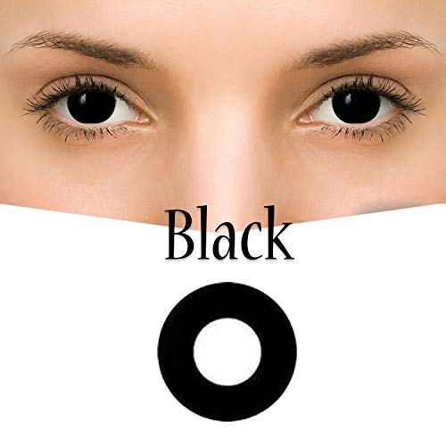GL-Turelifes Multicolor Contact Lens 0 degree Cute Charm and Attractive Fashion Eye Accessories Cosmetic Makeup Eye Shadow for Party Cospaly Halloween (Black 3)