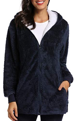 Caissip Fleece Coat for Women,Women's Oversized Zip Up Hooded Jacket Winter Plus Size Sherpa Coat Navyblue