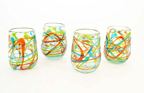 Set of 4, Green, Aqua and Orange Swirl Pattern Stemless Wine Glasses, Approx.16 Ounces. Recycled Glass. Handmade.