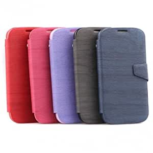 Flip Leather Stand Case With Card Slot For Samsung Galaxy S4 i9500 & Color = Purple